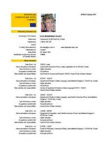 European Curriculum Vitae Format curriculum vitae format european images