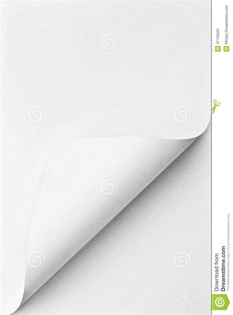 Paper Corner Fold - folded sheet of paper with curled corner stock image
