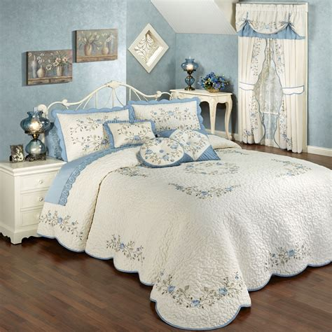 Quilted Comforter by Vintage Charm Embroidered Quilted Bedspread Bedding