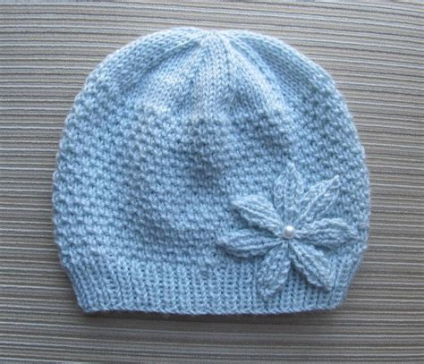 knit flower pattern for baby hat hat with a knitted flower in size by knittinkitty