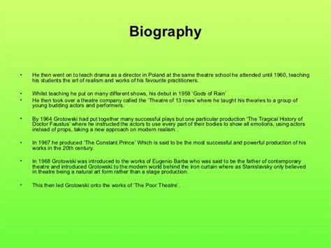 bio exles for theatre jerzy grotowski