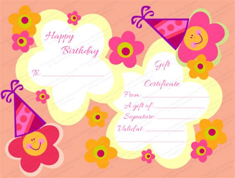birthday gift card design template birthday gift certificate templates 16 free word pdf
