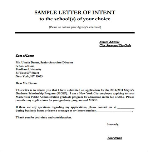 How To Make A Letter Of Intent For Business Franchise Sle Letters Of Intent 7 Free Documents In