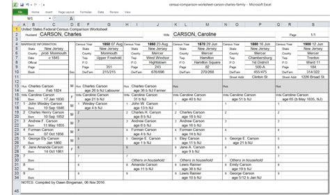 Census Comparison Worksheet Ancestor Roundupancestor Roundup Census Template Excel
