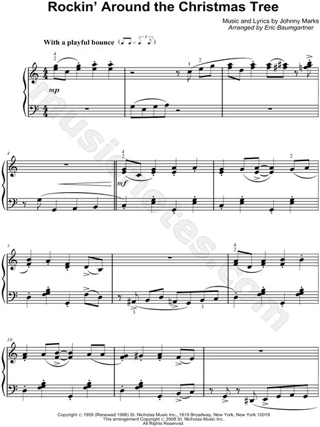 fre pdf piano solo o christmas tree brenda quot rockin around the tree quot sheet piano in c major transposable