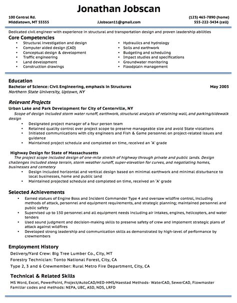 Resume Exles With Gaps In Employment Highway Design Engineer Sle Resume