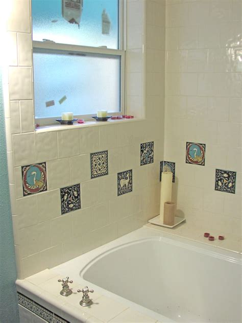 bathroom biz photo of accent tiles in bathroom tub surround