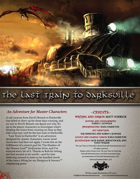 the last train to the last train to darksville master schwalb entertainment adventures drivethrurpg com