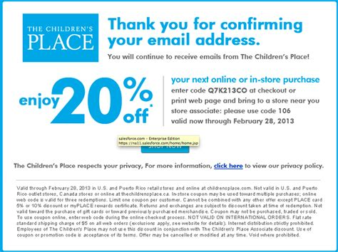childrens place coupons promotion codes