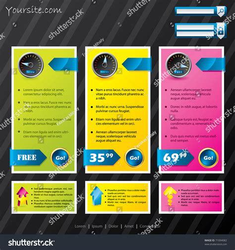 Subscription Website Template With Different Options Stock Vector Illustration 71094082 Subscription Website Template