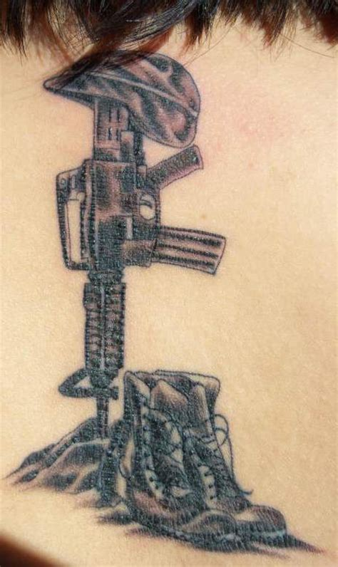 m16 tattoo m16 with shoes and helmet army memorial