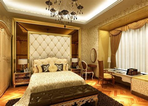 Luxurious Bedroom Designs Gorgeous Tufted Shape Of Bed Also Ceiling To Floor Curtains Perfecting Luxury