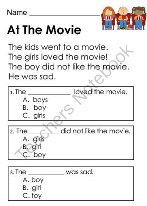 biography text multiple choice kindergarten reading comprehension and student on pinterest
