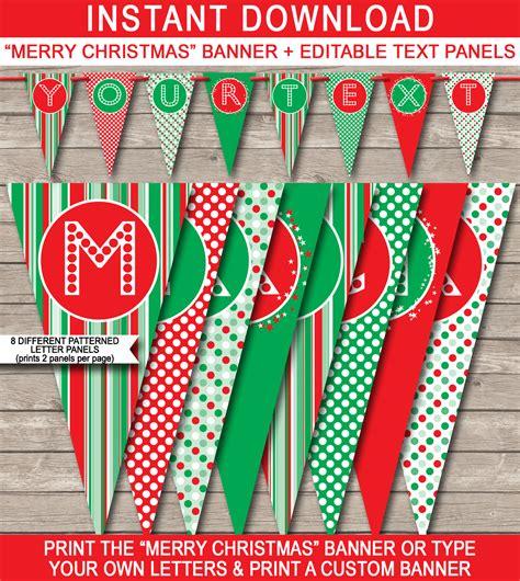 christmas banner template merry christmas banner editable bunting