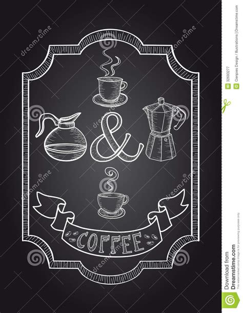 Poster 126 Coffee coffee chalkboard illustration stock vector illustration