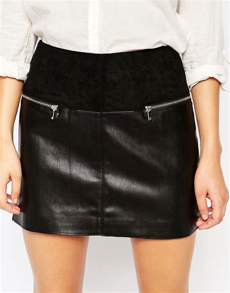 river island river island faux leather mini skirt at asos