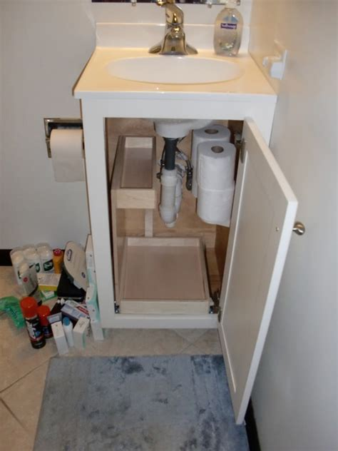 bathroom vanity pull out shelves