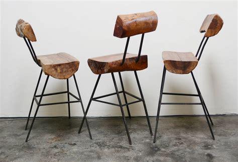 Modern Rustic Bar Stools by Rustic Modern Iron And Log Bar Stools At 1stdibs