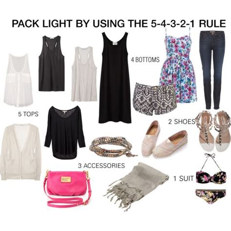 Packing Light by Pack Light Using The 5 4 3 2 1 Rule 5 Tops 4 Bottoms 3