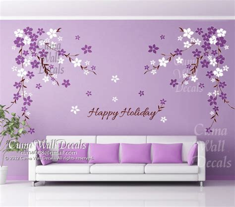 Purple Wall Decals For Nursery Wall Decal Wall Decals Flowers Cherry By Cuma