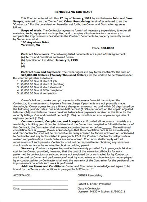 Letter Of Agreement For Renovation remodeling contract templates free premium