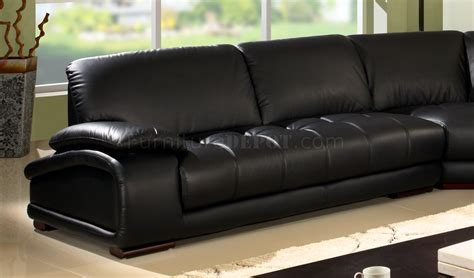 black bonded leather modern sectional sofa w wooden legs