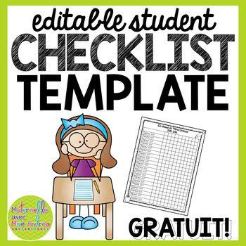 Editable Checklist Template by Free Editable Student Checklist Template By Maternelle