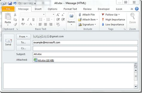 email format html exle adding outlook email tool in excel 2010