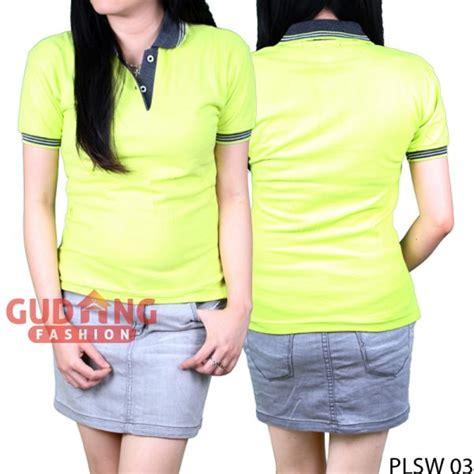 Kaos Polos Hijau Stabilo Xl polo shirt lengan pendek wanita cotton pique hijau stabilo