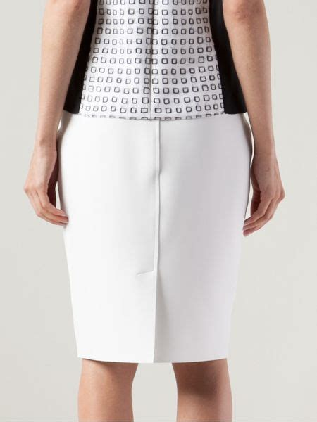 reed krakoff stretch pencil skirt in white lyst