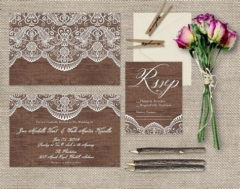 lace wood wedding invitations shabby chic weddings or