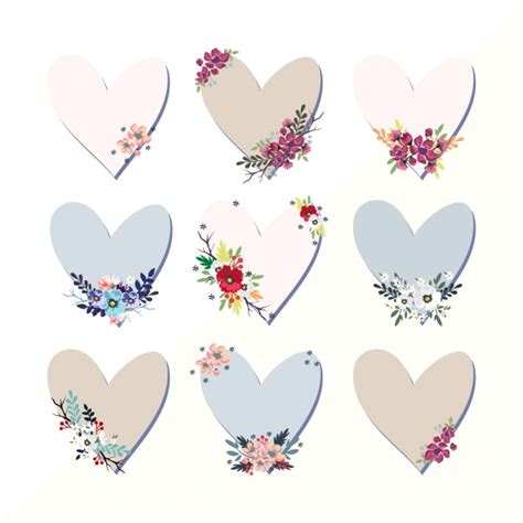 Decorative Hearts by Decorative Hearts Collection Vector Free