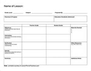 Printable Blank Lesson Plan Template by Lesson Plan Outline Template 12 Free Sle Exle