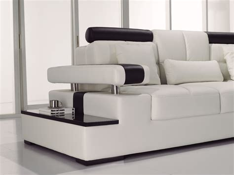 Contemporary Black White Italian Leather Sectional Sofa Contemporary Sectional Leather Sofa