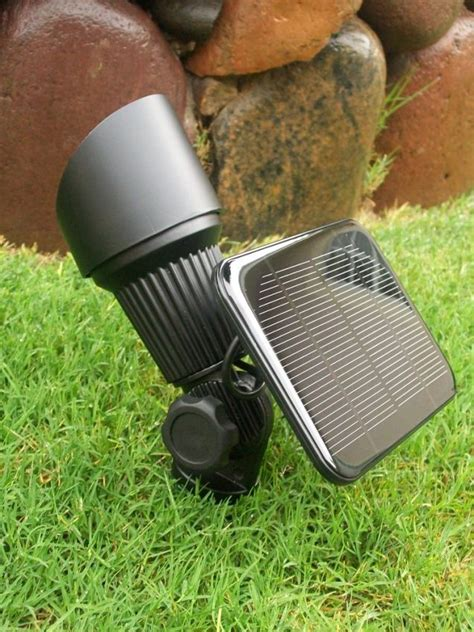 white high output solar spot light yardbright landscape
