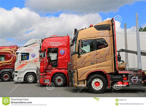 volvo scania lineup of colorful volvo and scania trucks editorial image