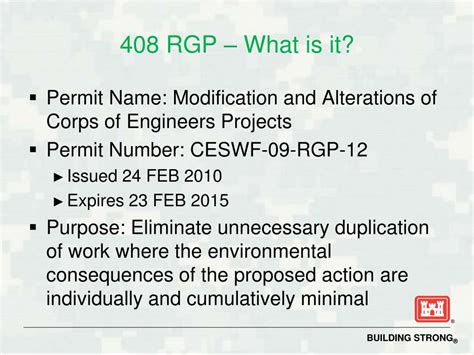 Section 408 Usace ppt section 408 approval process new 408 regional general permit powerpoint presentation