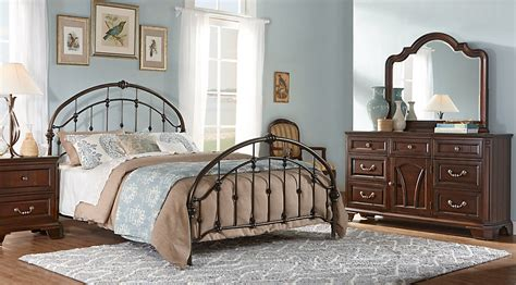 metal bedroom sets beacon falls cherry 5 pc queen panel bedroom with gray