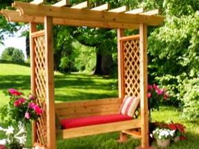 Garden Arbor With Bench Corner Arbor With Bench Plans 187 Woodworktips