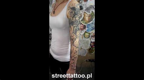 tatuaż jodżi street tattoo full roses sleeve rękaw w