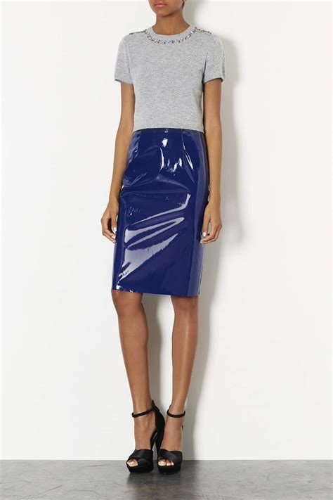 topshop navy blue vinyl pencil skirt in blue lyst