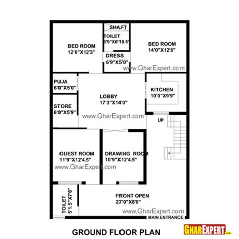 1 gaj in sq feet house plan for 35 feet by 50 feet plot plot size 195