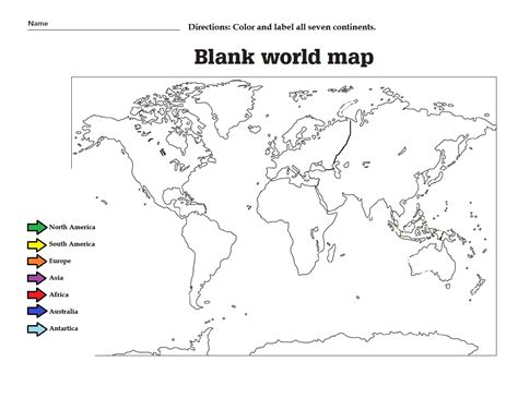 free printable world map quiz label the the continents and color them great worksheet