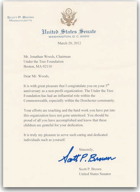 Congratulations Letter Letter Of Congratulations From Senator Brown The Tree Foundation Jonathan Woods