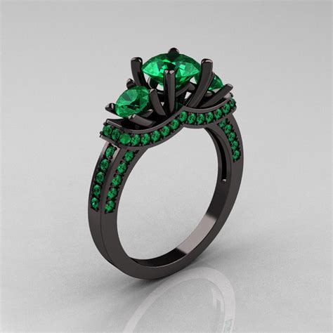 14k black gold three emerald wedding ring