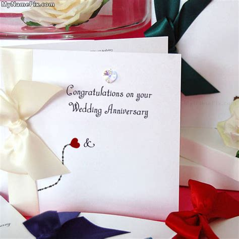 Wedding Anniversary Wishes Card With Name Edit by Wedding Anniversary Card With Name