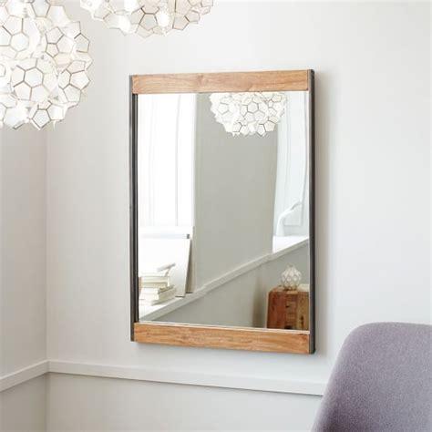 industrial metal mirror industrial metal wood wall mirror west elm