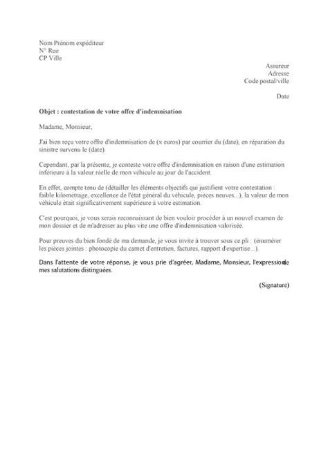 Lettre de contestation de l'indemnisation   LeLynx.fr