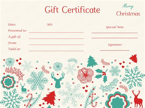 delicate christmas gift certificate template giftvoucher
