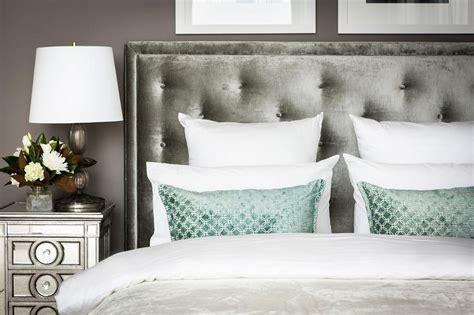 grey velvet headboard gray velvet headboard with mirrored nightstand